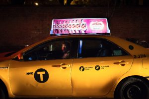yellow cab new york city by night